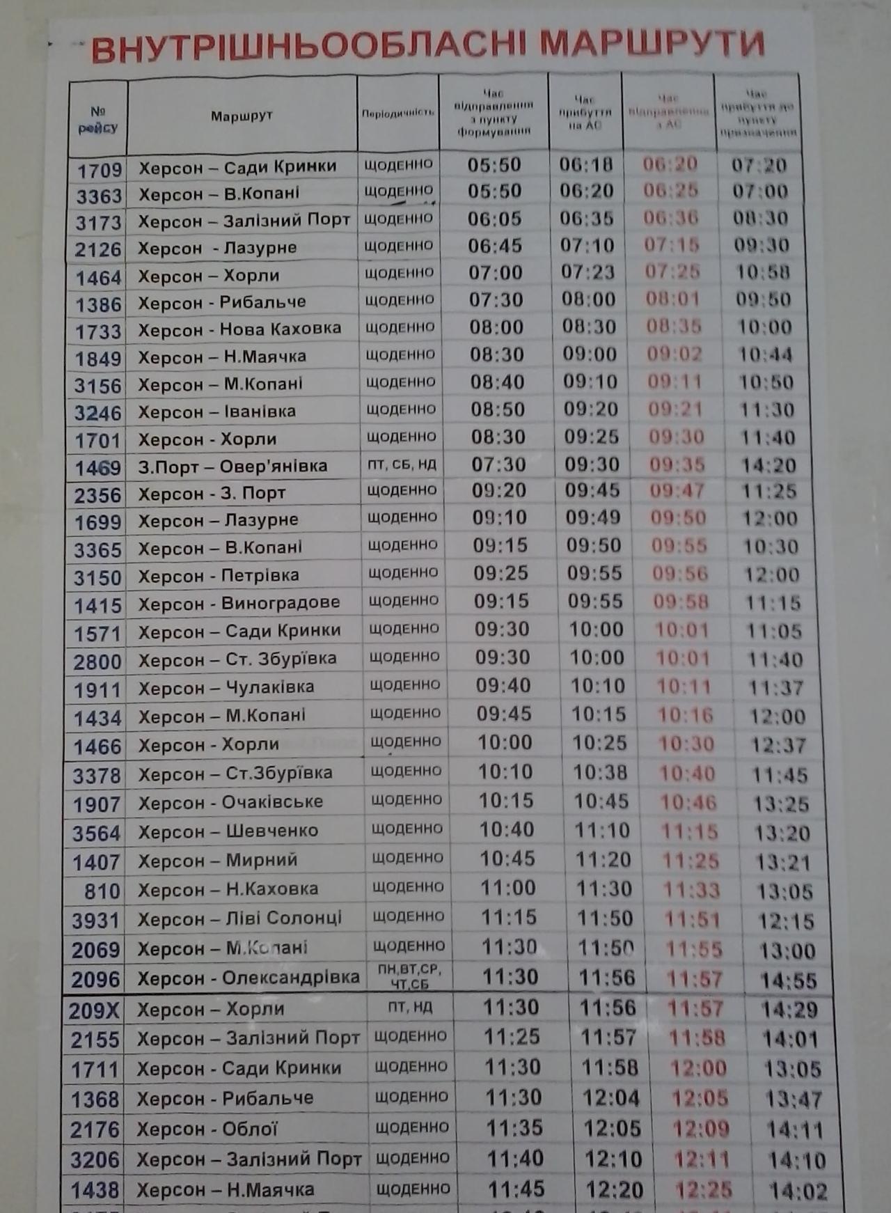 Расписание Цюрупинск